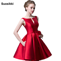 2016 New Fashion Fuchsia Vestido De Noiva Short Design Champange Color Lace Up Bridal Party Cocktail