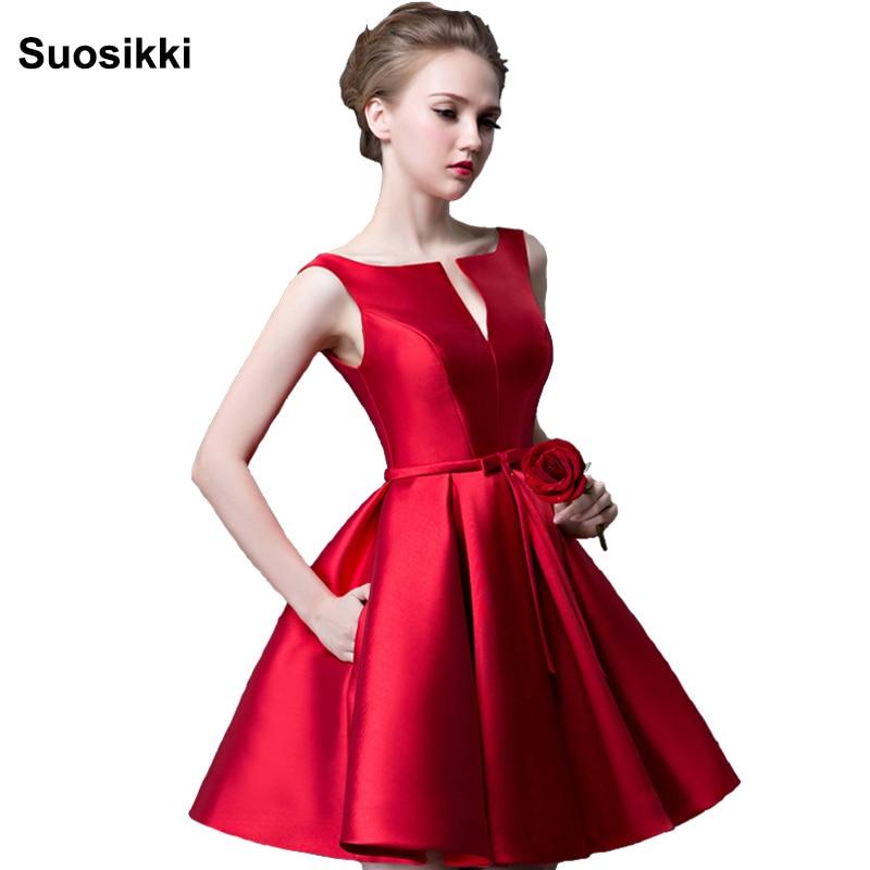 Suosikki 2018 New fashion fuchsia vestido de noiva short design Champange color lace up bridal party cocktail dress