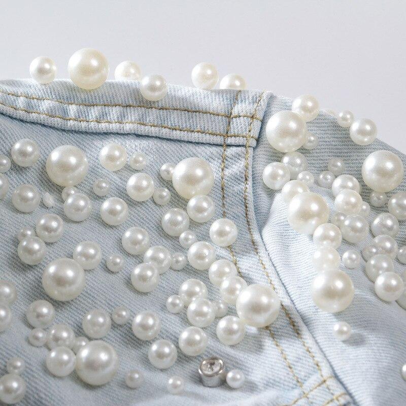 Qualité Light Femmes Survêtement Denim Casual Veste Haute Automne De Mince Style Courte 2018 Blue Vestes Perle Perlé Qd789 Conception E4TwSnxqC