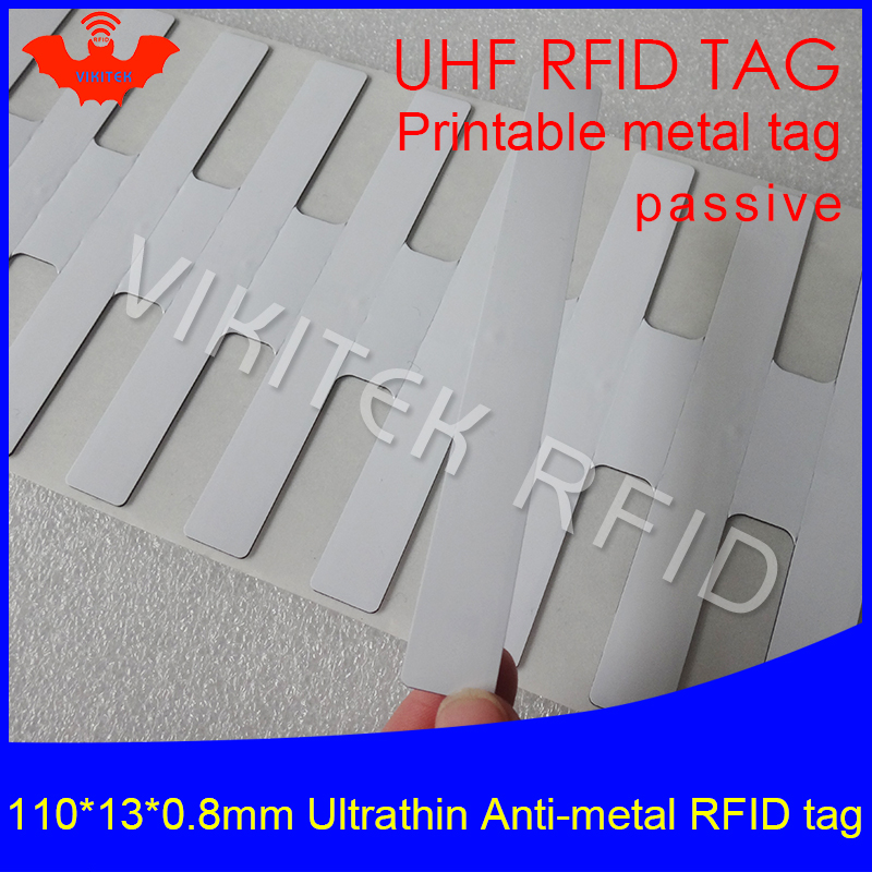 UHF RFID Ultrathin anti metal tag 915mhz 868mhz M4QT 110*13*0.8mm EPC Gen2 6C fixed assets printable PET passive RFID PET Label 2016 trays management anti metal epc gen2 alien h3 uhf rfid tag 50pcs lot