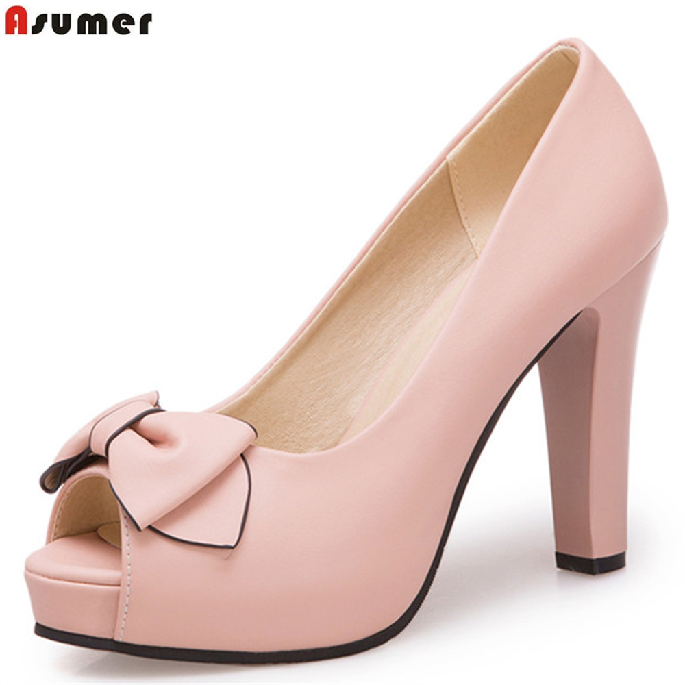 ASUMER white pink beige fashion peep toe shallow casual ladies pumps shoes elegant shallow women high heels shoes big size 33-43 flock women flats 2017 pointed toe ladies single shoes fashion shallow casual shoes plus size 40 43 small yards 33 sapatos