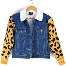 2016 осень и зима в женском хлопка кашемир толщиной джинсовая куртка хлопок шерсть леопарда рукав пальто теплые Женщины девушка