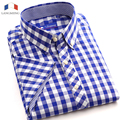 Langmeng 2016 new fashion men shirt 100% cotton striped dress shirts men casual short sleeve formal plaid shirt camisa masculina