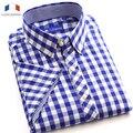 Langmeng 2016 nuevos hombres de la manera camisa 100% de algodón a rayas camisas ocasionales de los hombres de manga corta camisa a cuadros camisa masculina formal