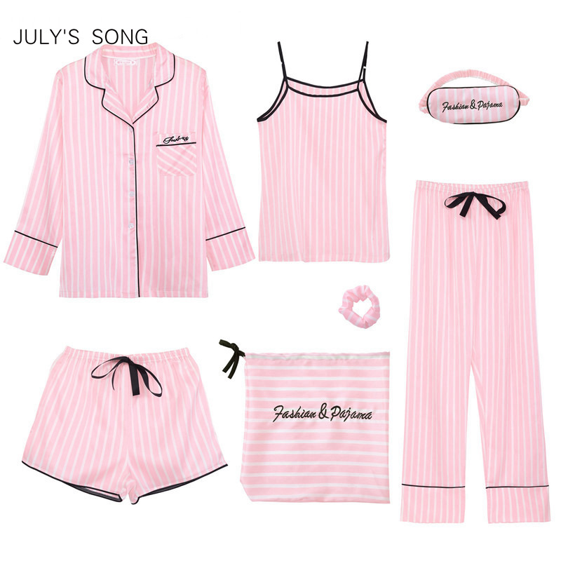 JULY'S SONG Pink Women's 7 Pieces   Pajamas     Sets   Emulation Silk Striped   Pajamas   Women Sleepwear   Sets   Spring Summer Autumn Homewear