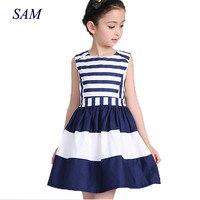 2018 Sweet Fashion New Kids Children Clothing Fashion Style Sleeveless Girls Summer Dress Wind Navy Striped