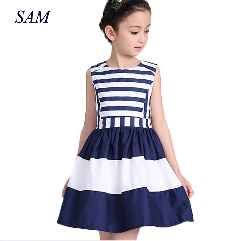 2018 sweet fashion new kids children clothing fashion style sleeveless girls summer dress wind navy striped sling vest dresses