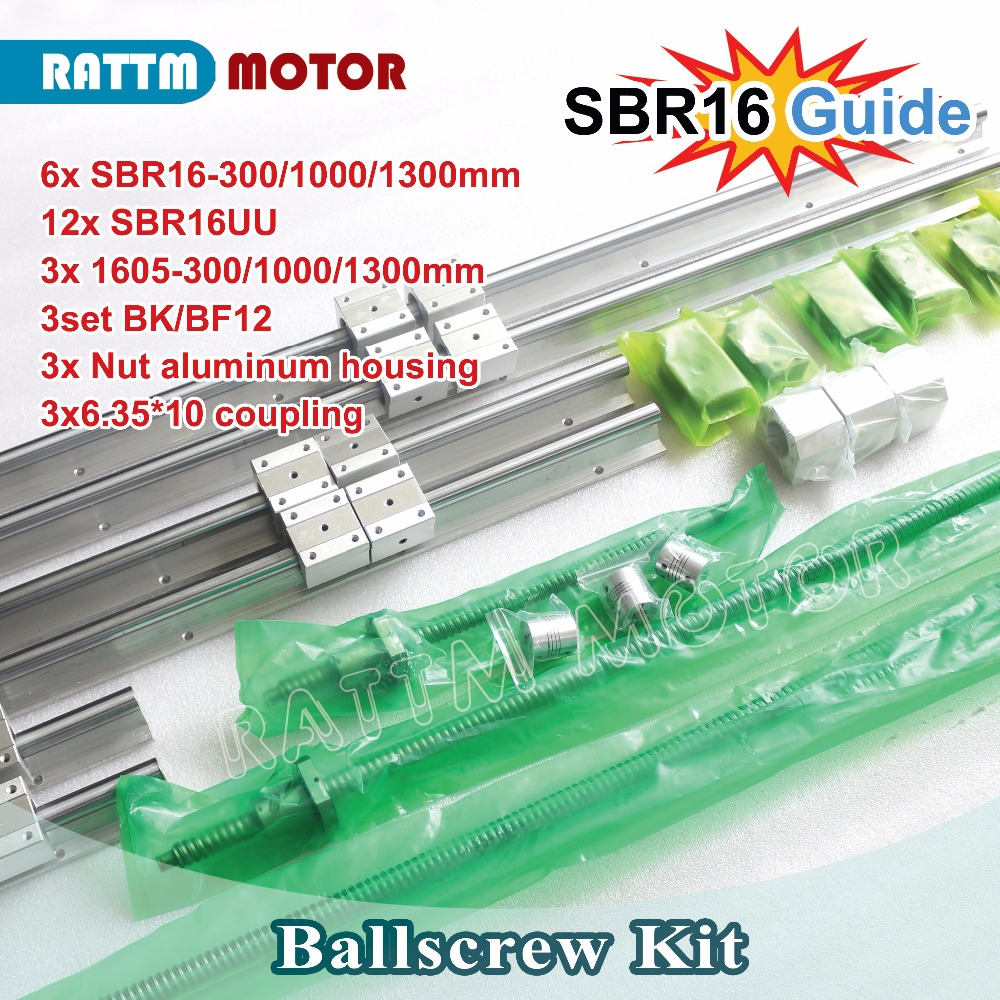 EU Delivery 6PCS linear SBR16 L 300 1000 1300mm 3set Ballscrew SFU RM1605 300 1000 1300mm
