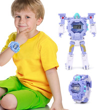 2in1 Boys Deformed Electronic Watch Children's Toy Light Robot Early Education E