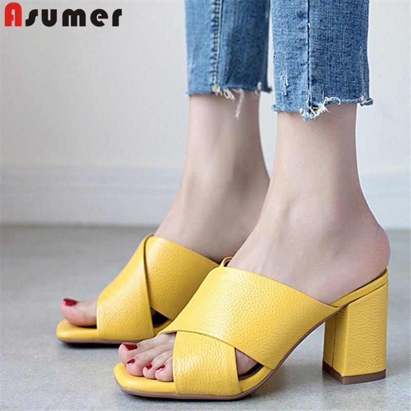 Salu 2019 summer genuine leather sandals women high heel sandals summer casual beach sandals big size
