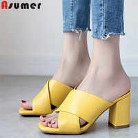 ASUMER 2019 hot sale new shoes woman square heels sandals women genuine leather shoes elegant ladies prom shoes big size 34-43