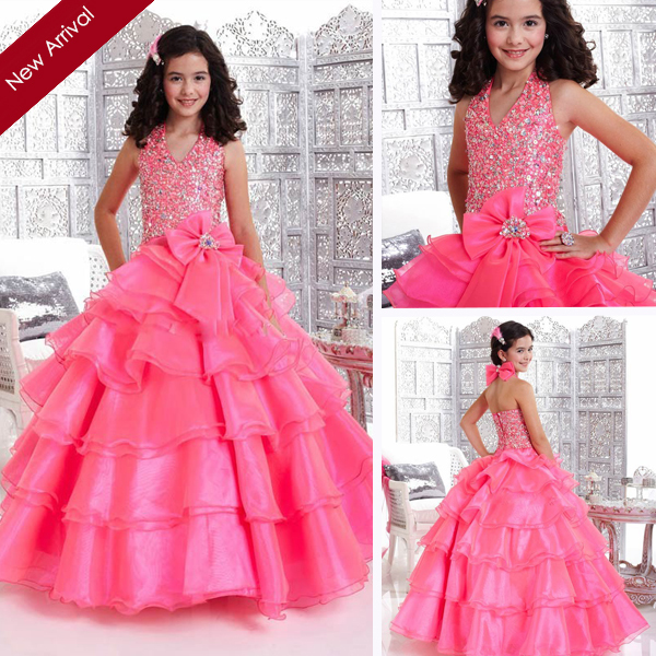 2014 Princess Ball Gown Halter Pink Party Dresses For
