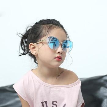 2018 New Cat eye kids sunglasses Cute Boys girls oculos de sol infantil Summer UV400 Children sunglasses for kids glasses N296