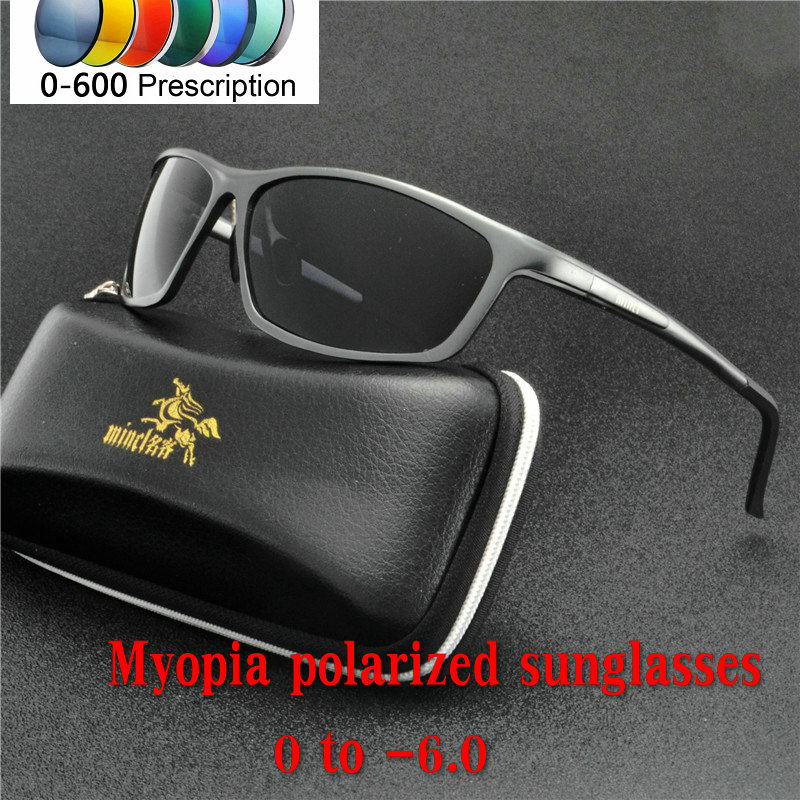 a692d49ce3 men women polarized sunglasses Custom Made Myopia Minus Prescription Lens -1  .0 to -6.0 alloy Square sunglasses with box NX