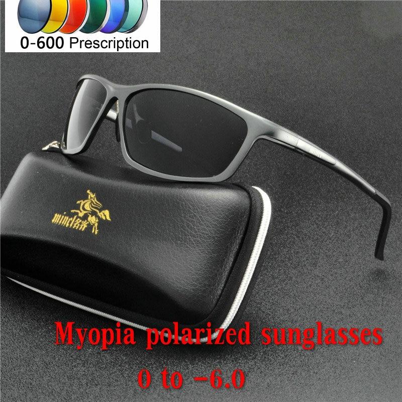 00430b6a0fa men women polarized sunglasses Custom Made Myopia Minus Prescription Lens  -1 .0 to -6.0 alloy Square sunglasses with box NX
