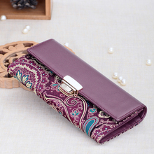 Elegant Four Colors Available Real Silk Embroidery Unique Shell Ornament Designed Leather Wallet Women Free Shipping