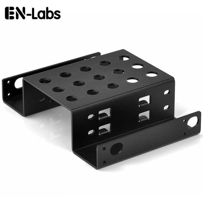 "En-Labs Aluminum 2 Bay 2.5"" SATA HDD SSD dock  to 5.25 bracket mounting Kit 2.5 to 5.25 hard drive bracket adapter converter"