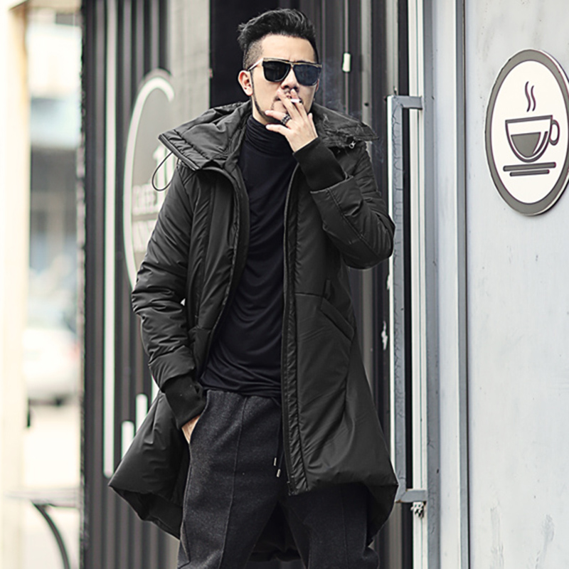 Men British style black long removable hooded warm thick coat metrosexual man cotton new design winter outwear coat slim fashion bluefrag 8pcs makeup brushes set eyeshadow concealer eyeliner lip brush powder foundation make up brush kit beauty cosmetic tool