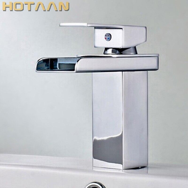 Бесплатная Доставка Опт и розница Акция хромированный латунный водопад кран для ванной квадратной раковины Смеситель 1 ручка