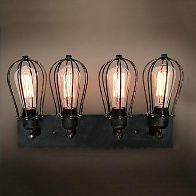American Style Loft Vintage Wall Lamp With 4 Lights For Home Lighting LED Edison Industrial Wall Sconce Light Arandela great wall style building home with jim spear