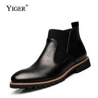 YIGER Новый Для мужчин Челси Ботинки Ботильоны Большие Размеры черный/коричневый/цвет красного вина британский стиль мужские ботинки из мягк...