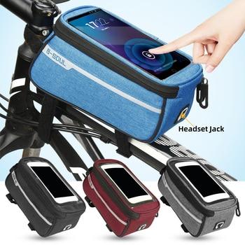 24981cd518d Bicicleta marco frontal tubo bolsa impermeable bolsas delanteras funda para  teléfono móvil 6 pulgadas soporte para teléfono bicicleta accesorios de ...