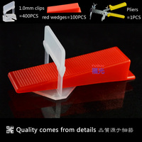 FG 2 Tile Leveling System 400pcs 1 0mm Clips And 100pcs Red Wedges And 1pcs Pliers