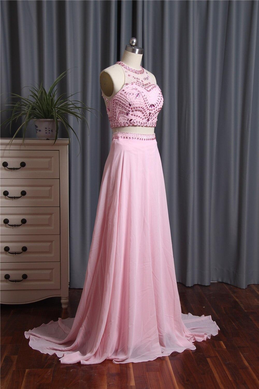 Compras baratas 2018 Rosa una línea de vestidos de baile o-cuello ...