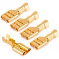 100 peças de bronze ouro fêmea spade terminais 6.3mm carro alto-falante conector cabo fio elétrico