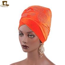 2018 Nový elegantní drahokamový sametový dlouhý turban šátek se závojem hlavy hijab Nigérie Turban Ženy Turbante Vlasové doplňky