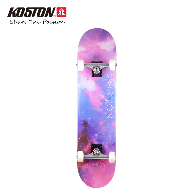 KOSTON pro skateboard with 7ply hard rock canadian maple hot air pressed,  double kick skateboard decks in 4 different size