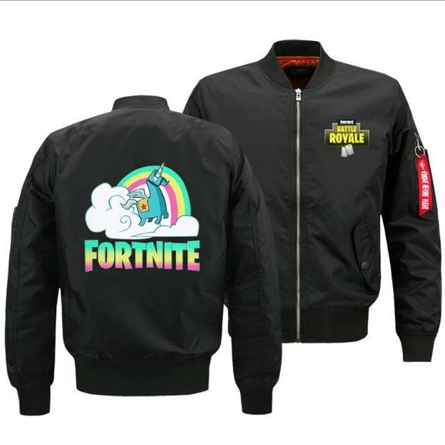 Game Fortnite jacket autumn and winter baseball uniform men's air force pilot rainbow horse custom printed sweatshirt thick coat