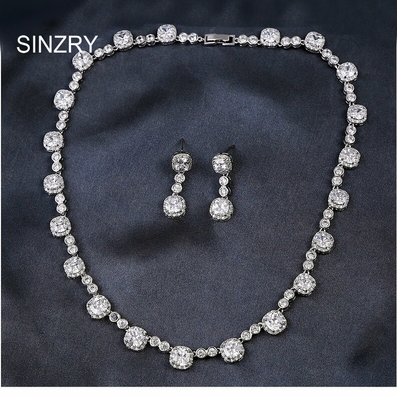 Brand new 2016 Luxury bridal jewelry white Cut Cubic zircon princess square wedding choker necklace earring