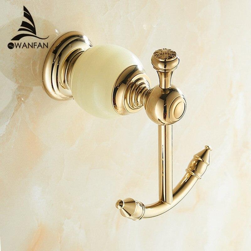 bathroom accessories wall mounted brass jade golden single robe hook clothes hooks decorative coat - Decorative Coat Hooks