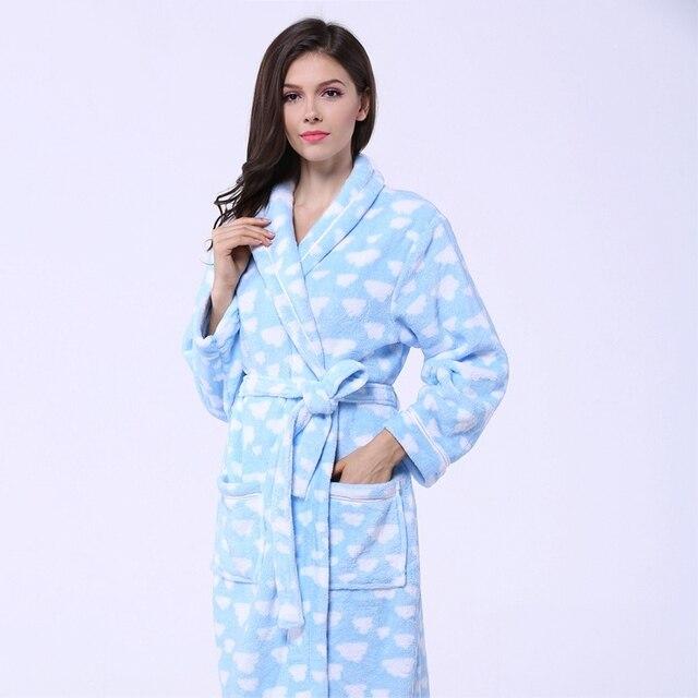 fb1892f075 Coral Fleece women bathrobe sleepwear nightgown ladies nightdress girls XL long  soft thick warm lovers autumn winter