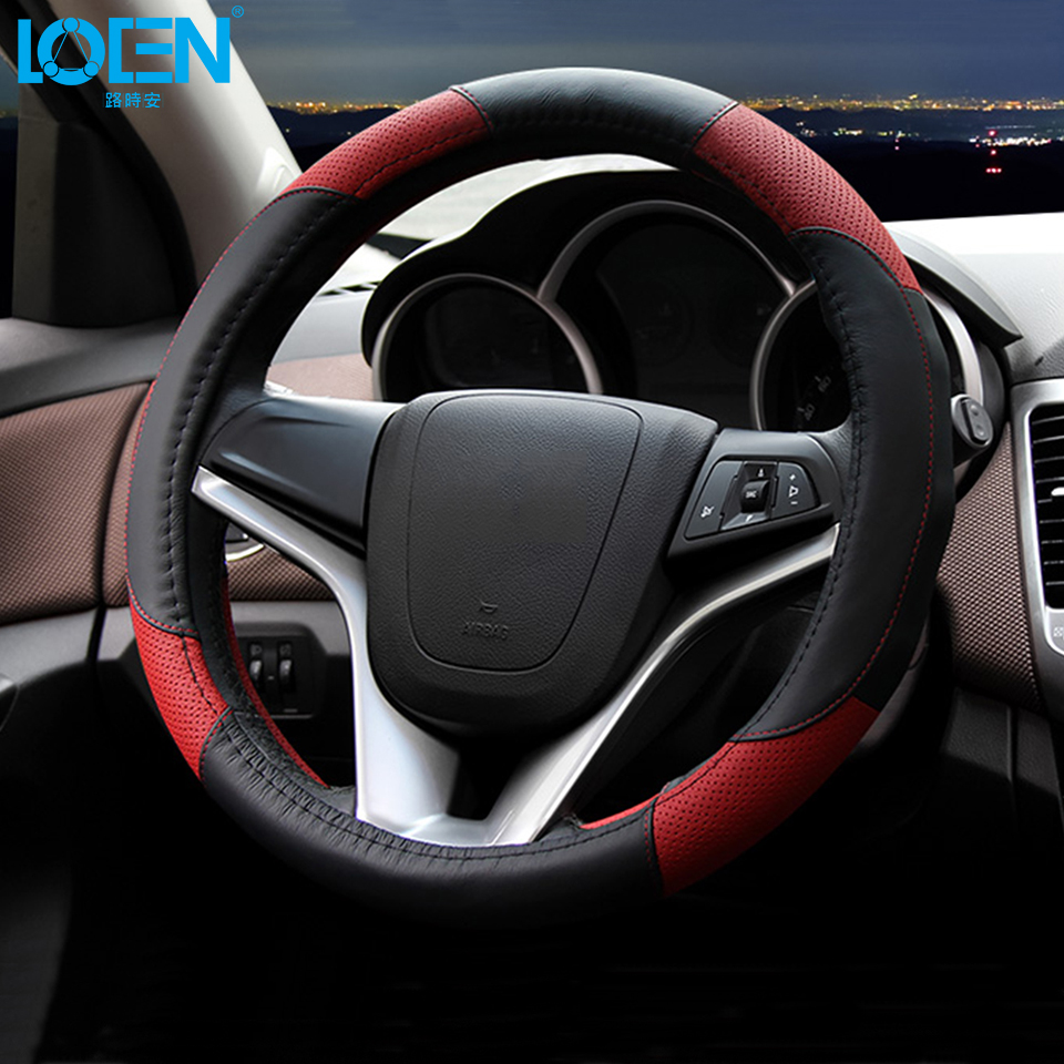 loen leather car steering wheel cover for toyota bmw audi chevrolet honda vw peugeot hyundai kia. Black Bedroom Furniture Sets. Home Design Ideas