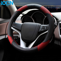 LOEN Leather Car Steering Wheel Cover for toyota bmw 0 chevrolet honda peugeot hyundai kia with/without car logo