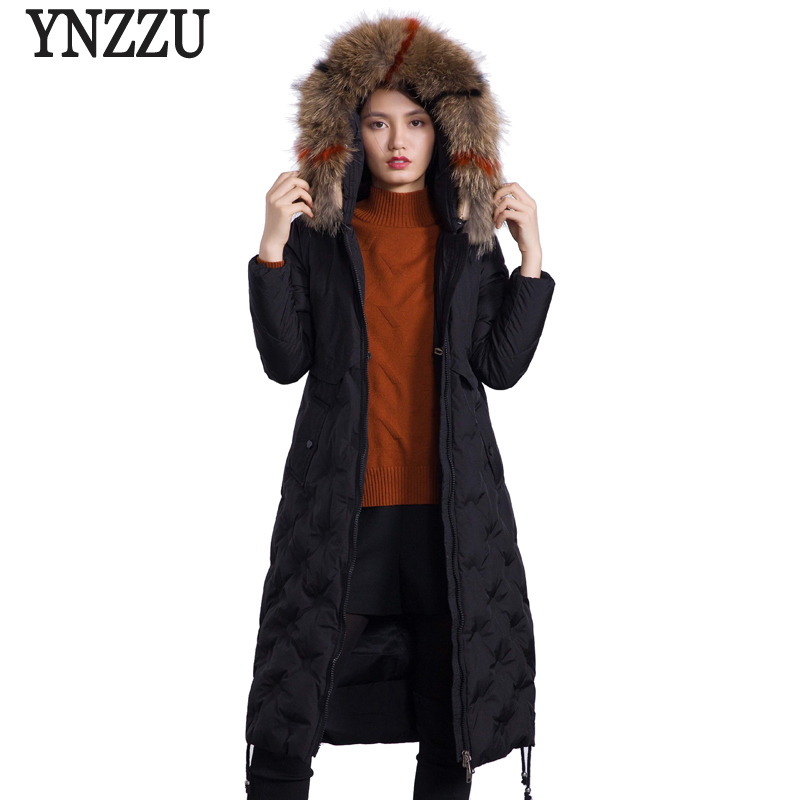 2018 New Casual Long Women   Down   Jackets Female Large Real Fur Collar Hooded Women Winter Jacket Duck   Down     Coat   Outerwear AO637
