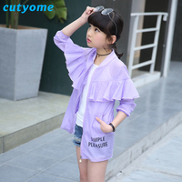 Wholesale-5pcs/lot Cutyome Ultra Thin Jacket for Baby Girl Lotus Leaf Long Style Fashion Children Beach Wear Sun Protection Coat