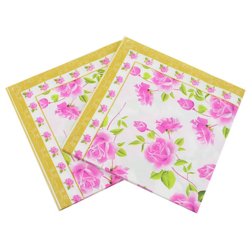 2018 20pcs/pack/lot Vintage Flower Paper Napkins Rose Festive Party Tissue Floral Decoration for Weeding Dinner and Party