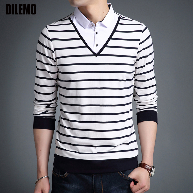 2019 New Fashion Brand T Shirts Mens Korean Striped Street Wear Tops Trending Turn down Collar Long Sleeve Tshirts Mens Clothing-in T-Shirts from Men's Clothing on AliExpress - 11.11_Double 11_Singles' Day 1