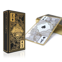 Waterproof PVC Gold Edge Poker Transparent Playing Cards Dragon Card Novelty High Quality Collection Poker Board