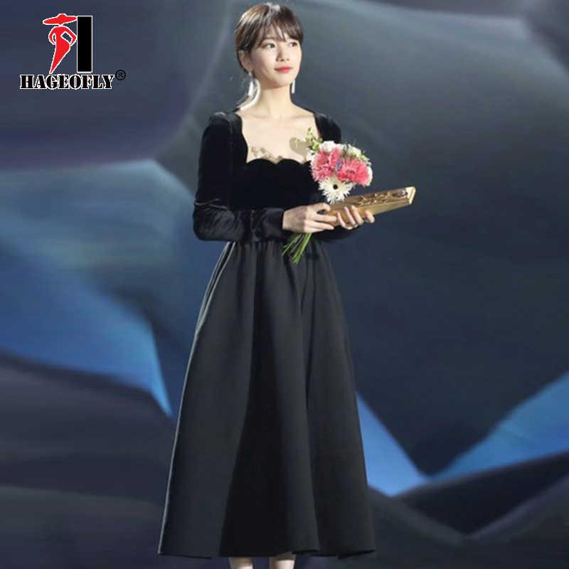 Detail Feedback Questions about 2019 New Hepburn Black Dress Autumn Women  Korean Fashion Long Sleeve Velvet Dress Slim Runway Party Celebrity Women s  ... 000d3d5423d3