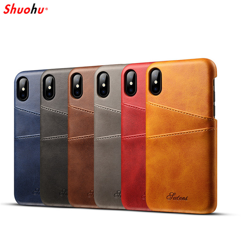 SHUOHU Luxury PU Leather Wallet Phone Cases for iPhone 7 6 6S Plus Case Business Card Wallet Back Cover for iPhone X 8 Plus Case
