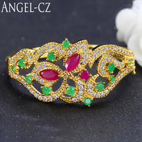 ANGELCZ Vintage Dubai Jewelry Yellow Gold Color Cubic Zirconia Women Wedding Bangle Bracelets With Indian Red