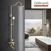 GERHAN Adoking Antique Luxury Rain Shower Faucet Set Vintage Brass Bathroom Water Mixer Bathtub Retro Gold Shower Crane K19018