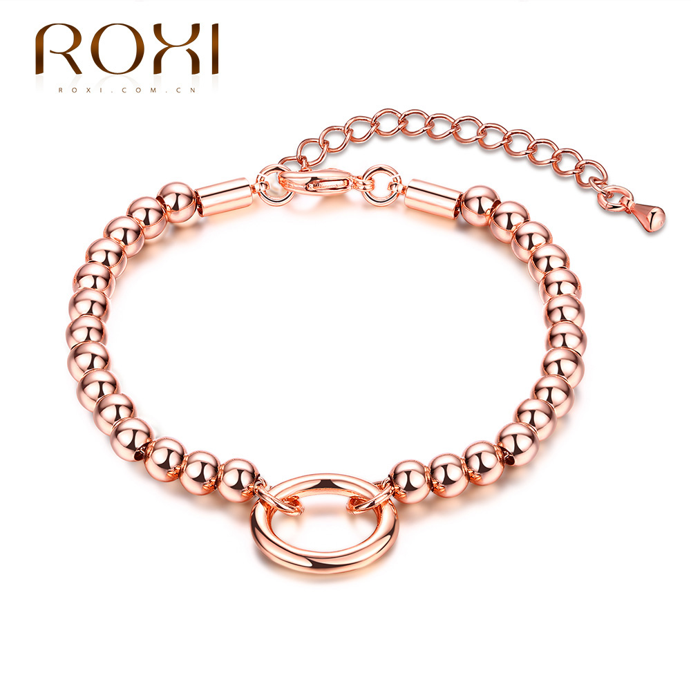 ROXI Brand Brcalet For Women Round Pendant Bead Chain bracelets & bangles Rose Gold Color Pulseras Fashion Jewelry Charm Bijoux