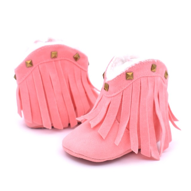 791ecdf39f3 US $7.59 |New Fashion Rivet style Baby Boots Infant Girls Zip Solid Pu  Suede Leather Baby Moccasins Toddler soft sole Tassel baby shoes-in First  ...