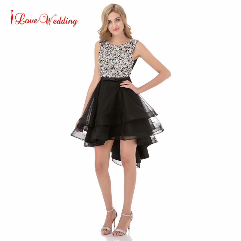 New Black Short Homecoming Dresses High Low Open Back Crystals Girl Cocktail Party Dress Beaded Vestido De Festa Real Images