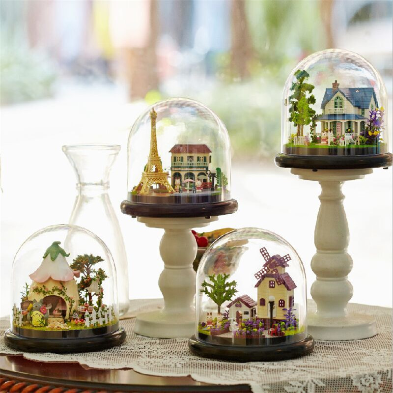 Sylvanian Families House DIY Kawaii Around The World Music Box Glass Balls Crafts for Children Toys for Kids Juguetes Brinquedos